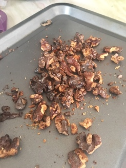 Toasted and roughly crushed walnuts